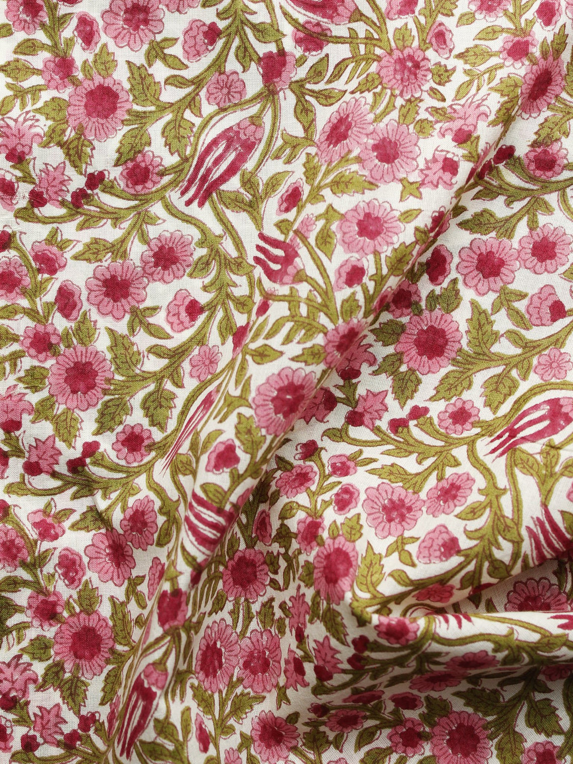 Ivory Pink Green Hand Block Printed Cotton Fabric Per Meter - F001F1099