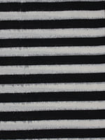 Black White Pochampally Hand Weaved Double Ikat Fabric Per Meter - F091F763
