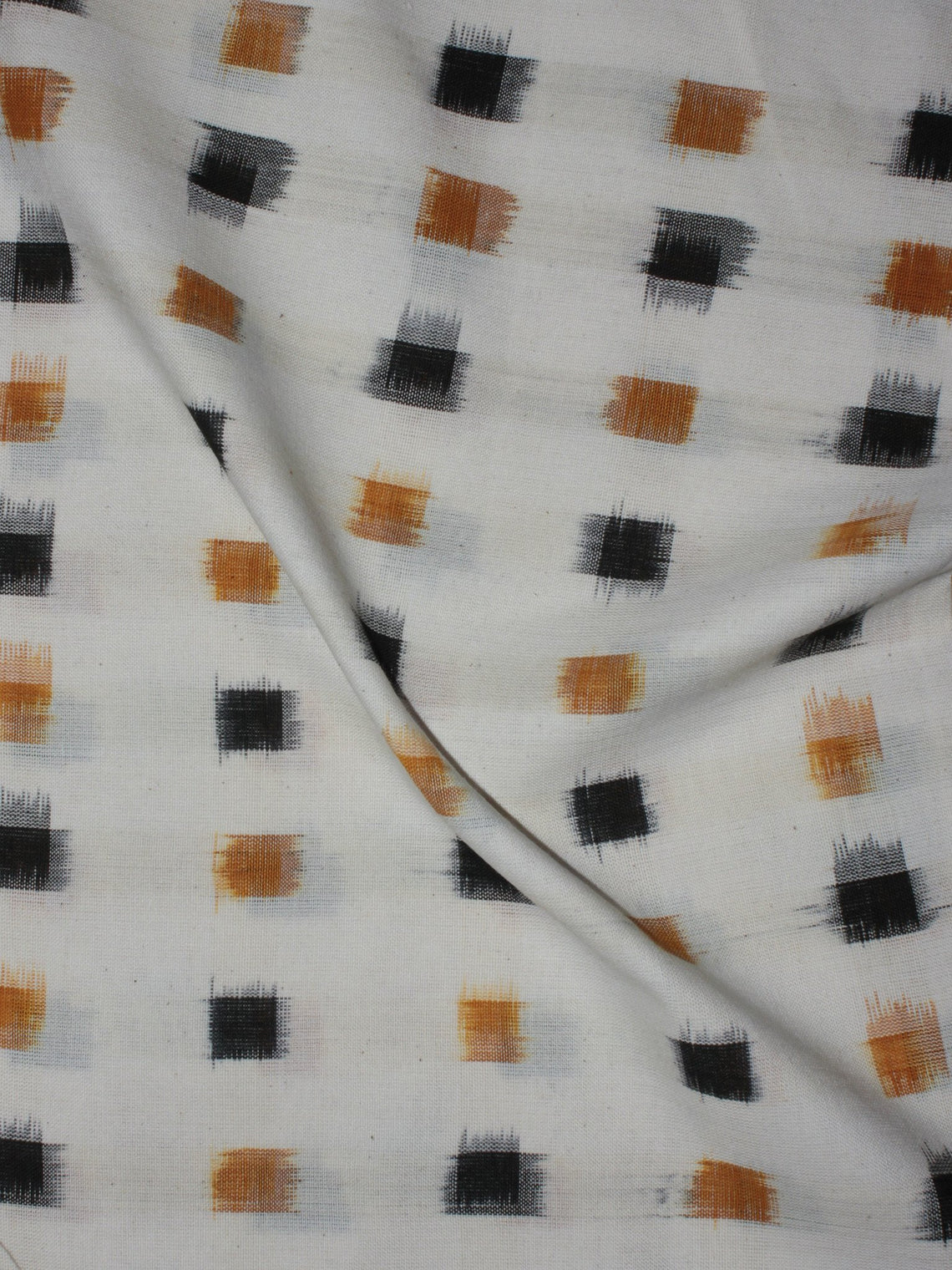 Ivory Golden Yellow Black Pochampally Hand Weaved Double Ikat Fabric Per Meter - F091F764