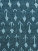 Teal Blue Pochampally Hand Weaved Ikat Mercerised Fabric Per Meter - F003F1265