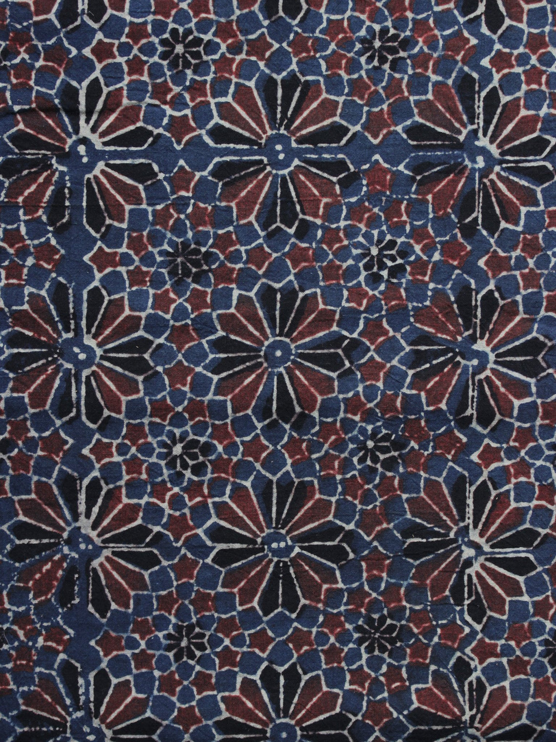 Blue Red Black  Ajrakh Printed Cotton Fabric Per Meter - F003F1213