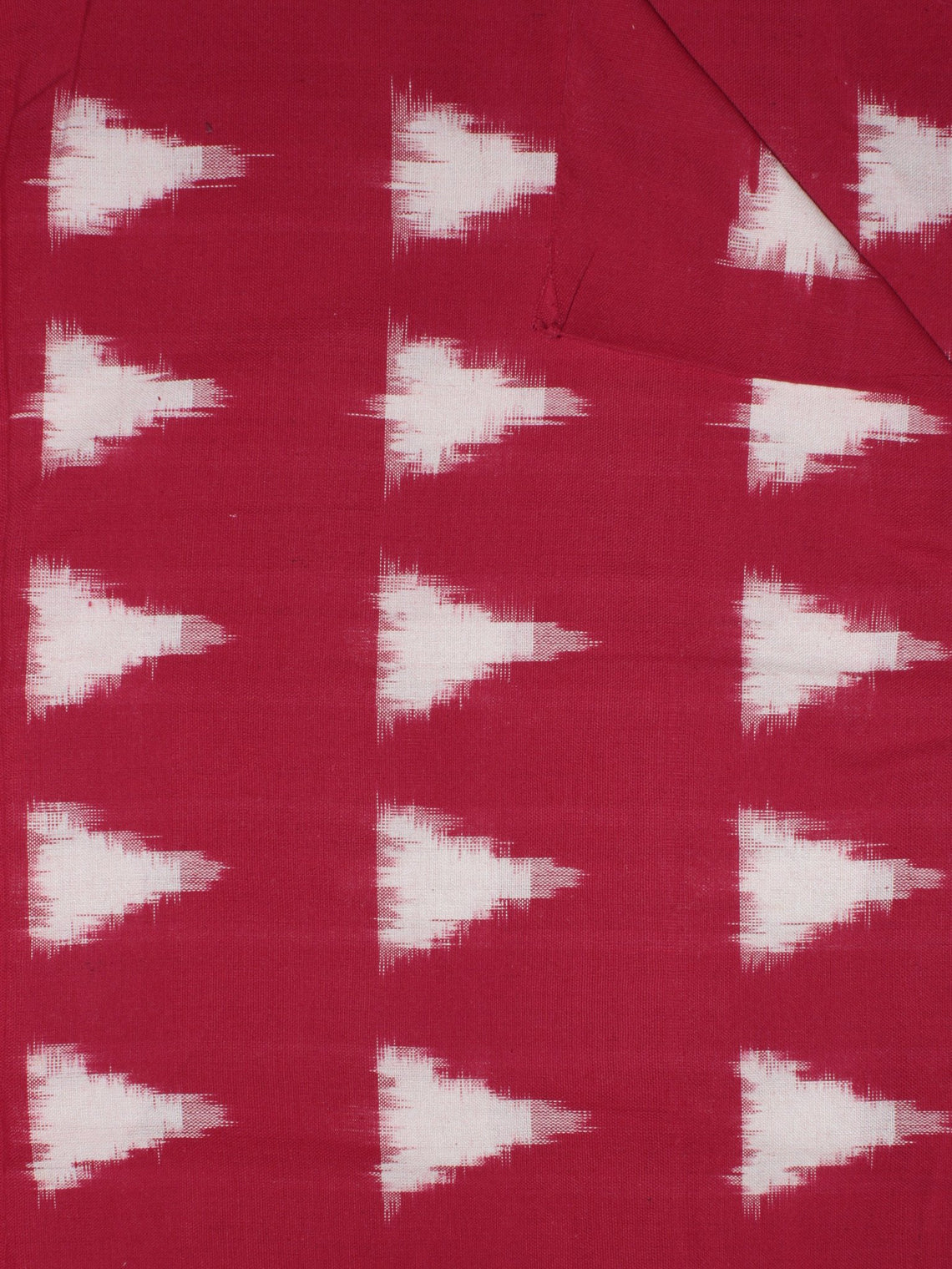 Red Ivory Pochampally Hand Weaved Double Ikat Fabric Per Meter - F091F766
