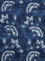 Indigo Ivory Hand Block Printed Cotton Fabric Per Meter - F001F1103