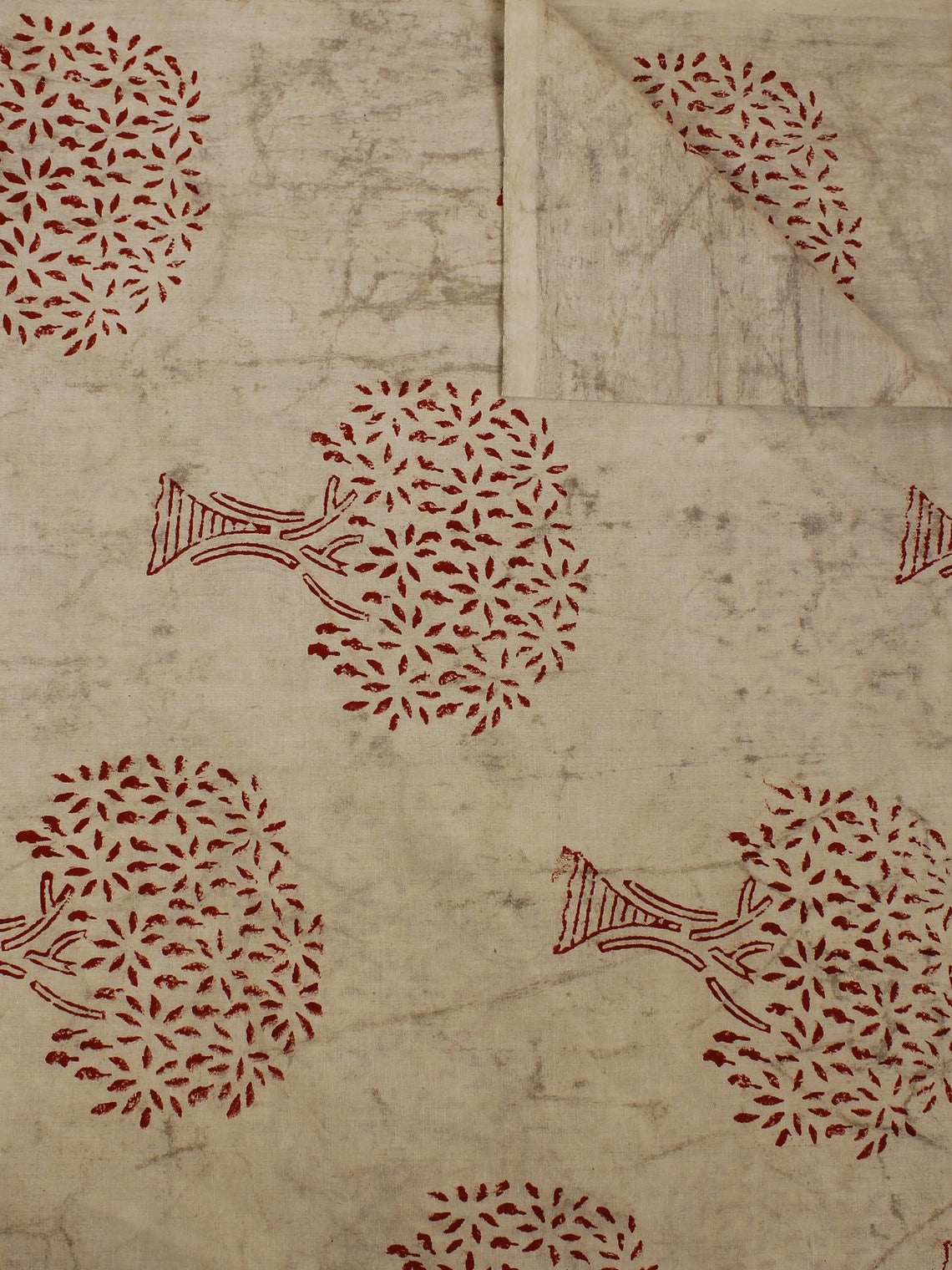 Beige Red Hand Block Printed Cotton  Cambric Fabric Per Meter - F0916388