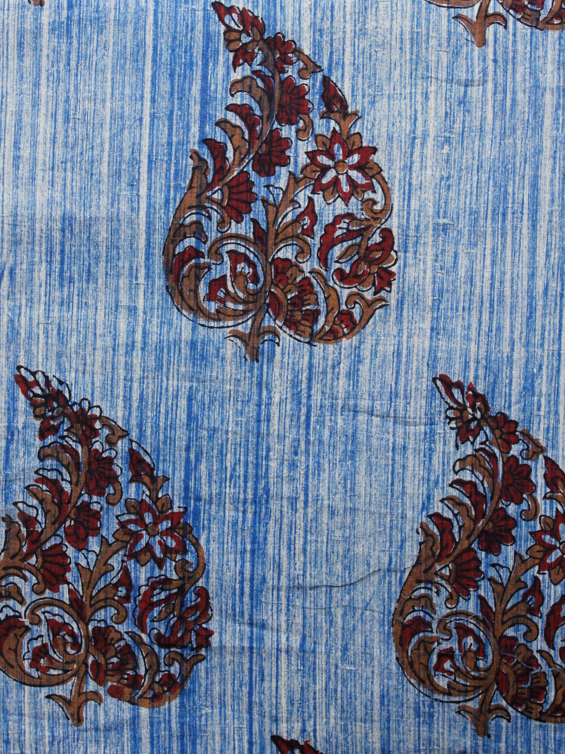 Indigo Ivory Peanut Brown Maroon Hand Block Printed Cotton Fabric Per Meter - F001F1559