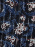 Black Indigo Rust Ivory Kantha Embroidered Hand Block Printed Cotton Fabric - F004K1123
