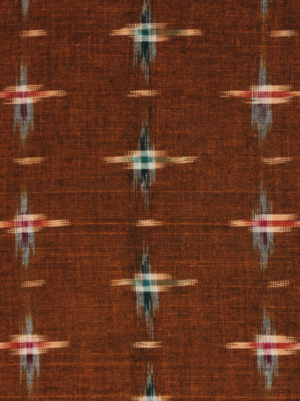 Mustard Green Red Ivory Pochampally Hand Weaved Double Ikat Fabric Per Meter - F002F799