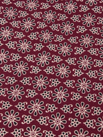 Maroon Ivory Black Ajrakh Block Printed Cotton Fabric Per Meter - F0916678
