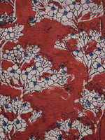 Red Ivory Blue Hand Block Printed Cotton Fabric Per Meter - F003F1306