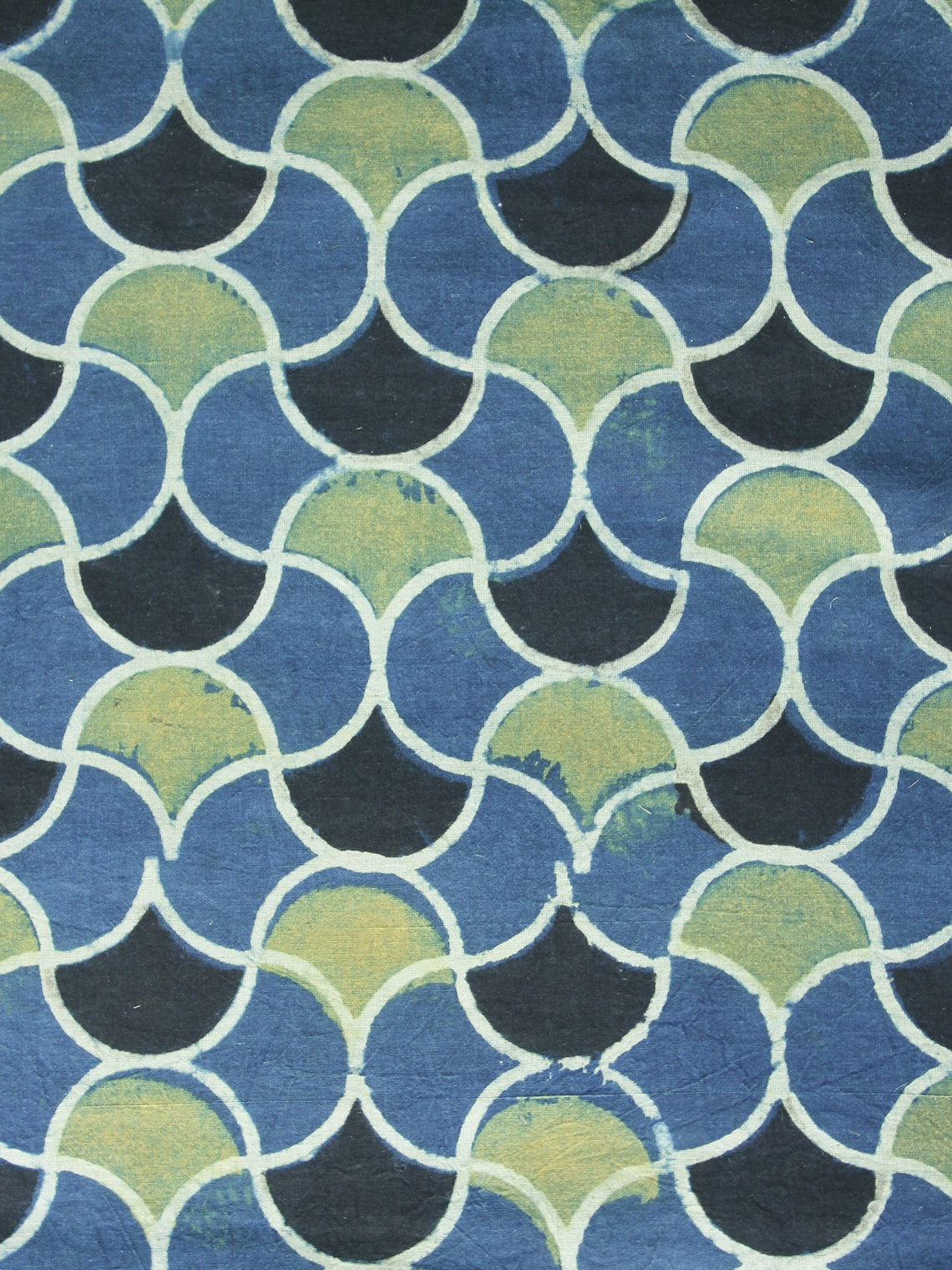 Indigo Olive green Black  Ajrakh Printed Cotton Fabric Per Meter - F003F1215