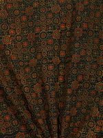 Green Yellow Rust Black Ajrakh Hand Block Printed Cotton Fabric Per Meter - F003F1793