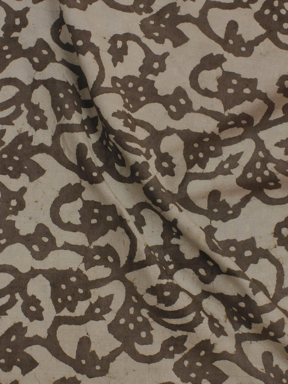 Beige Hand Block Printed Cotton  Cambric Fabric Per Meter - F0916053