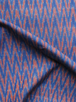 Blue Peach Pochampally Hand Weaved Ikat Mercerised Fabric Per Meter - F003F1274