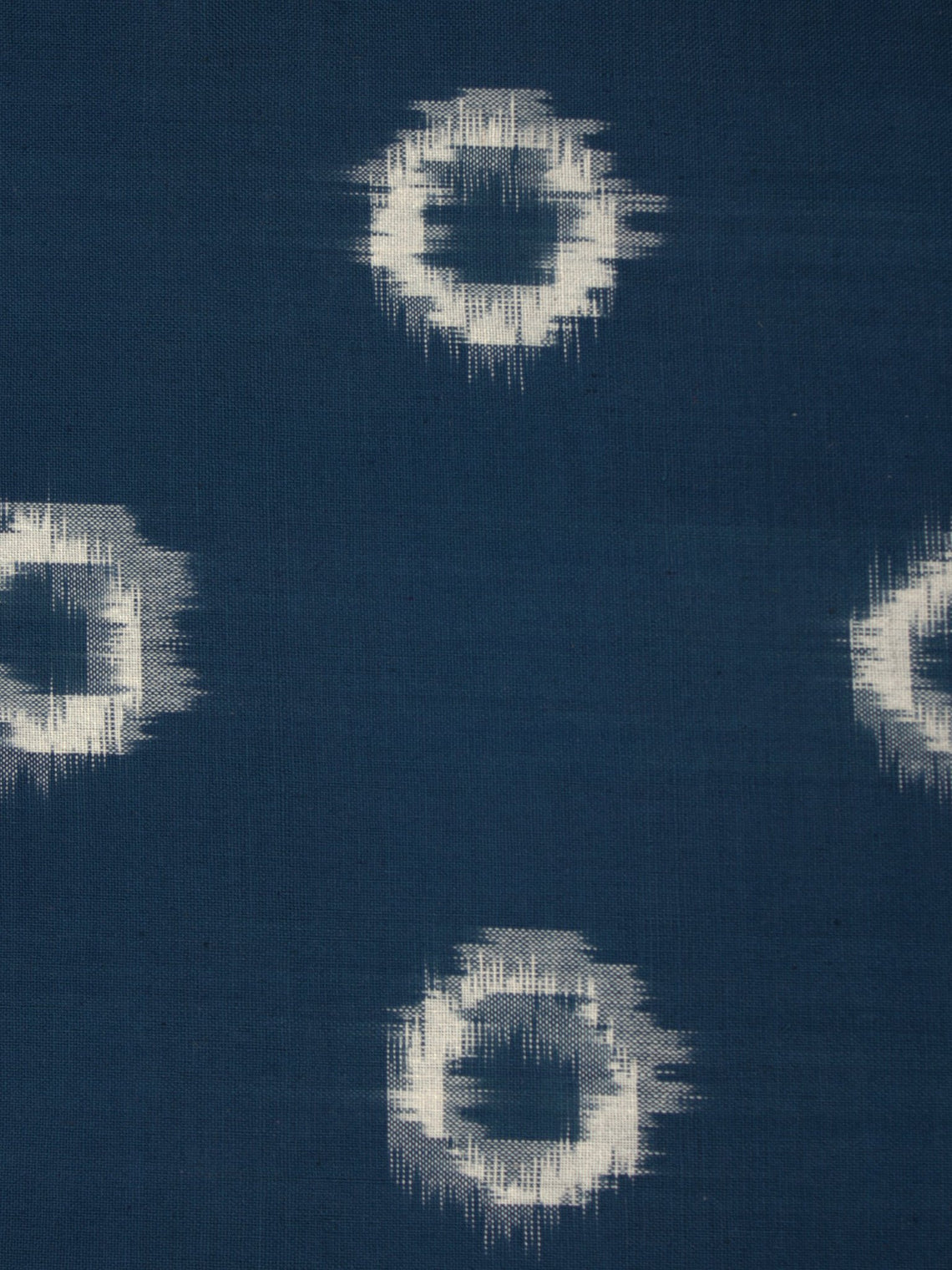 Teal Blue Ivory Pochampally Hand Weaved Double Ikat Circular Pattern Fabric Per Meter - F002F853