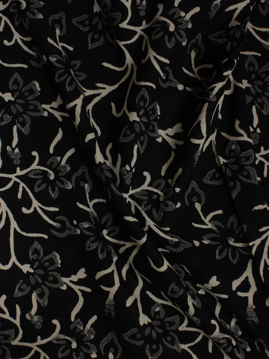 Black White Hand Block Printed Cotton  Cambric Fabric Per Meter - F0916059