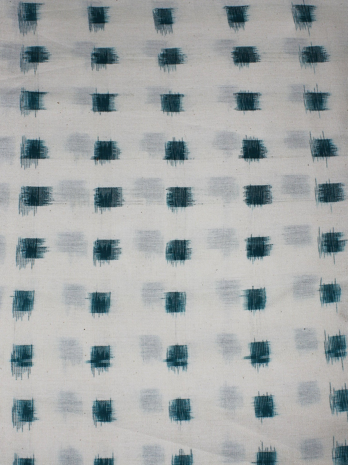 White Green Pochampally Hand Weaved Double Ikat Fabric Per Meter - F0916656