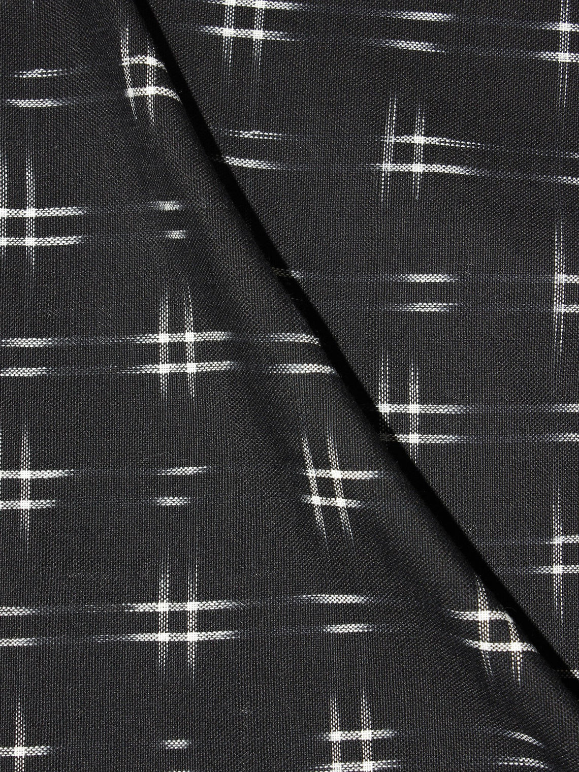 Black White Pochampally Hand Weaved Double Ikat Fabric Per Meter - F0916666