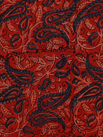 Red Green Beige Black Ajrakh Hand Block Printed Cotton Fabric Per Meter - F003F1800