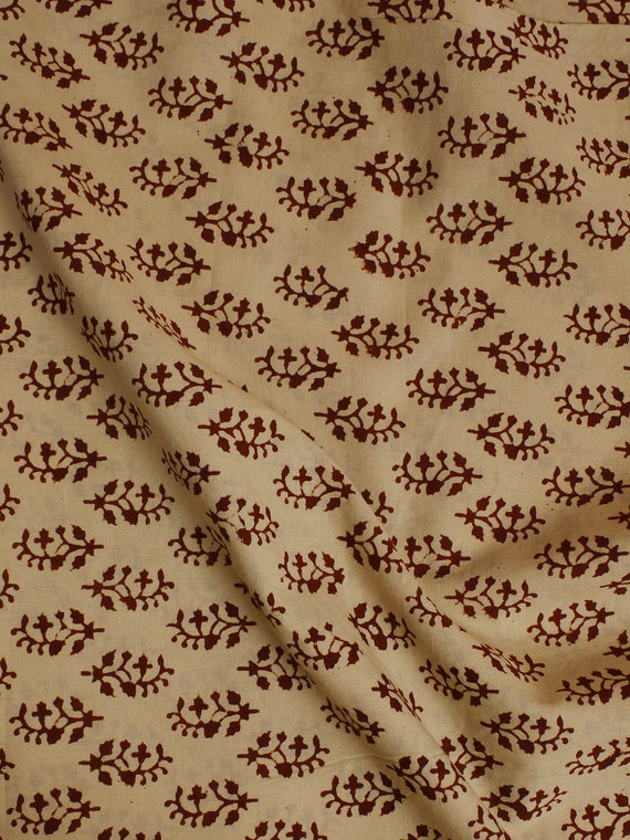 Beige Red Hand Block Printed Cotton  Cambric Fabric Per Meter - F0916064