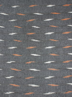 Grey White Orange Pochampally Hand Weaved Ikat Fabric Per Meter - F0916671