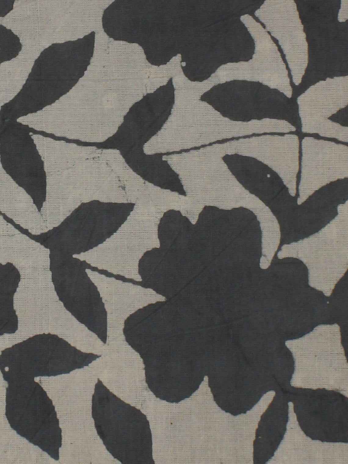 Grey Ivory Hand Block Printed Cotton  Cambric Fabric Per Meter - F0916075