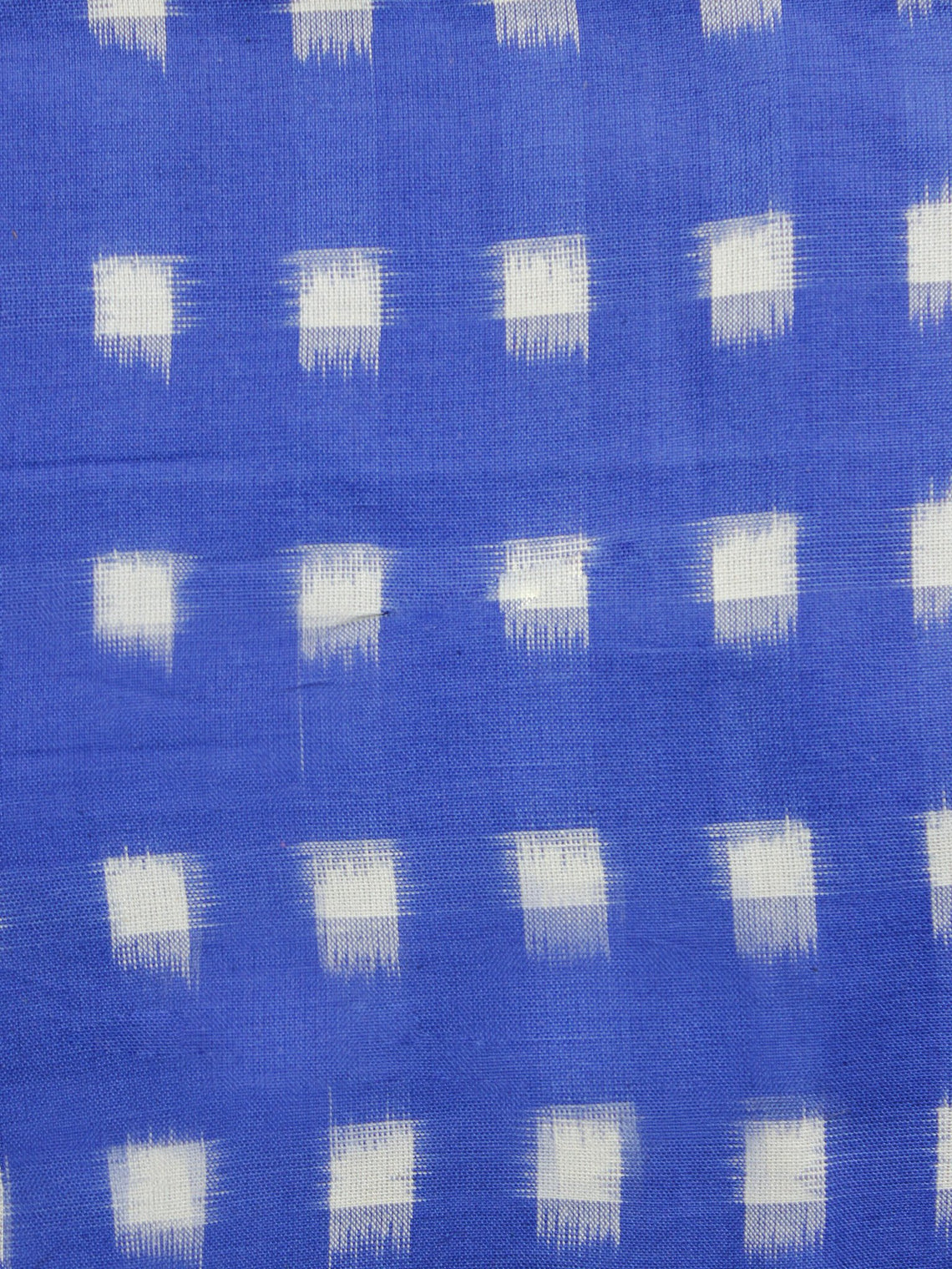 Blue White Pochampally Hand Woven Double Ikat Fabric Per Meter - F002F1055