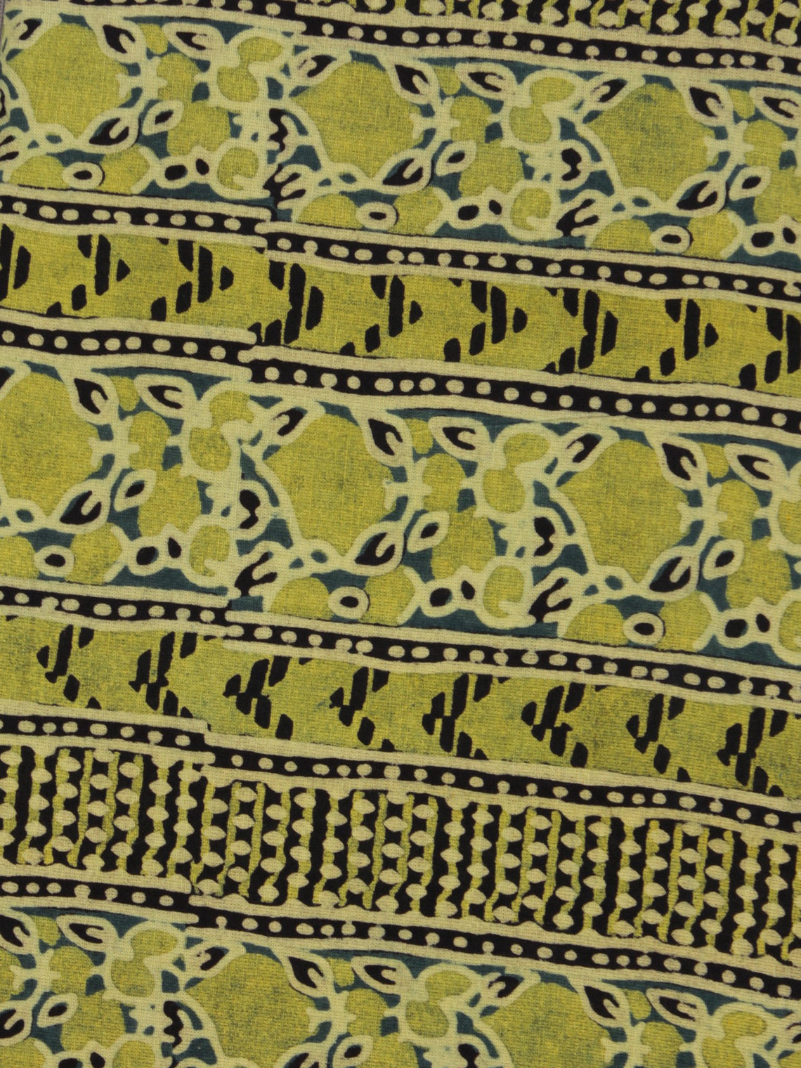 Lime Green Ivory Blue Ajrakh Printed Cotton Fabric Per Meter - F003F868