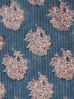 Teal Blue Maroon Ivory Kantha Embroidered Hand Block Printed Cotton Fabric - F001F560