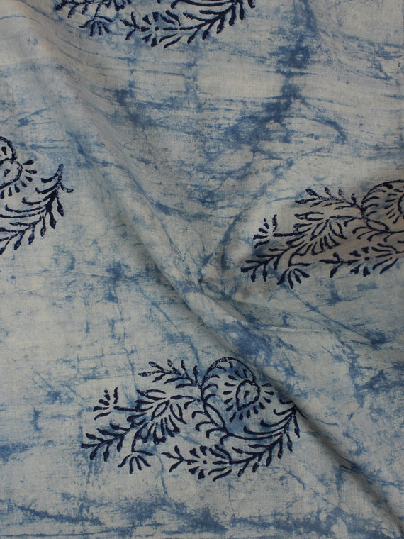 Indigo Hand Block Printed Cotton Cambric Fabric Per Meter - F0916106