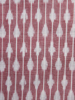 Peach White Pochampally Hand Weaved Ikat Mercerised Fabric Per Meter - F003F1279
