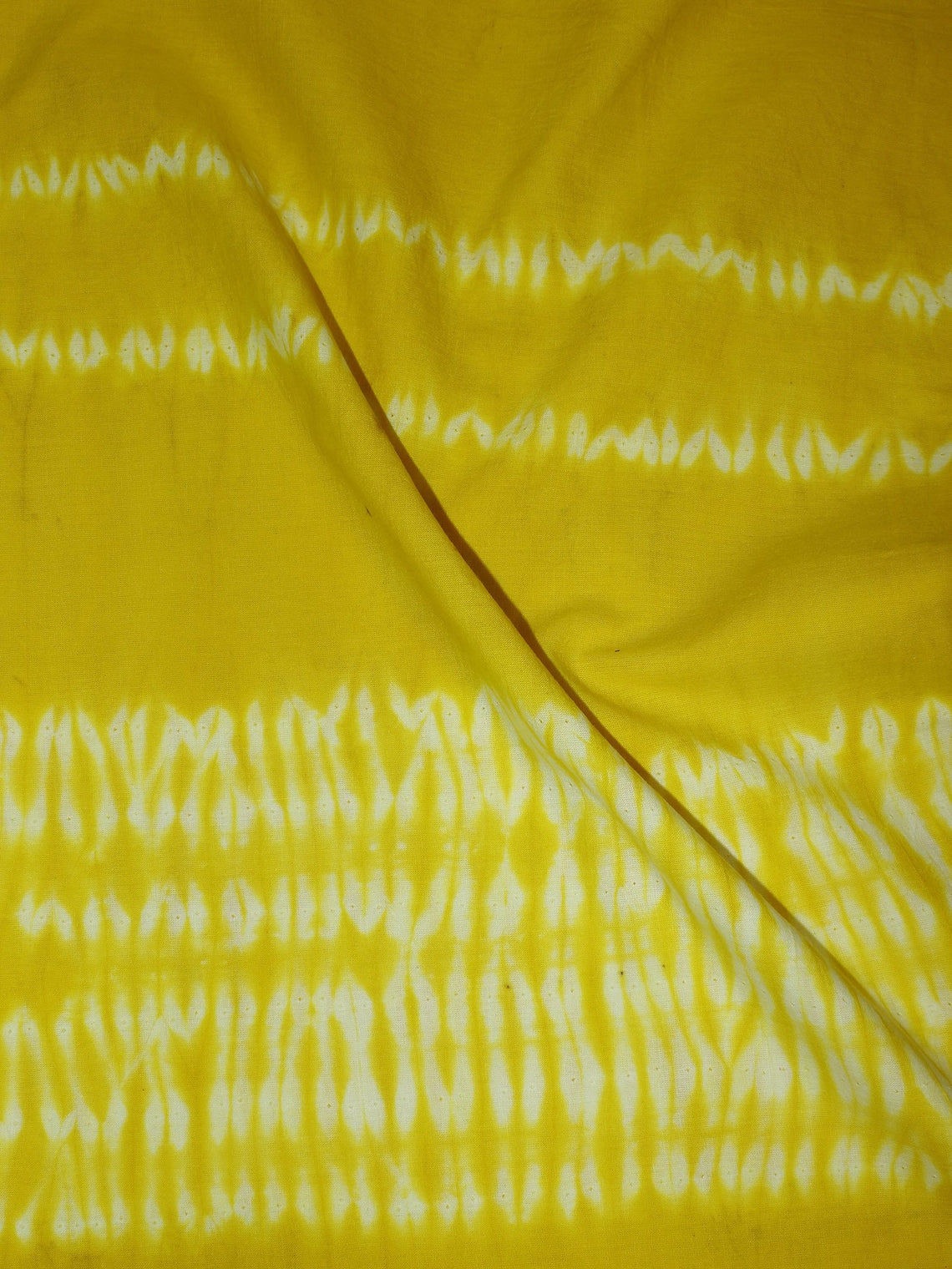 Yellow White Hand Block Printed Shibori Cotton Cambric Fabric Per Meter - F0916269