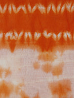 Orange White Hand Block Printed Shibori Cotton Fabric Per Meter - F0916282
