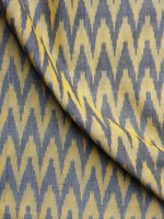 Yellow Grey Pochampally Hand Weaved Ikat Mercerised Fabric Per Meter - F003F1286