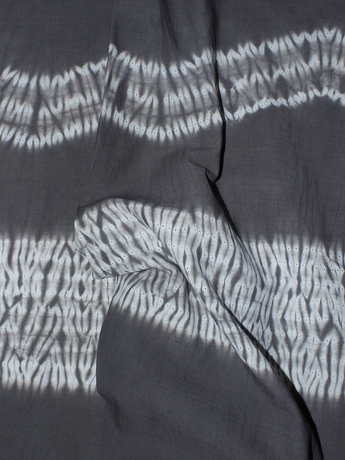 Grey White Hand Block Printed Shibori Cotton Cambric Fabric Per Meter - F0916274