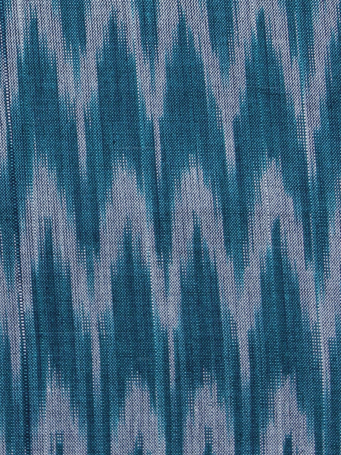 Teal Blue Grey Pochampally Hand Weaved Ikat Mercerised Fabric Per Meter - F003F1288