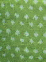 Parrot Green Pochampally Hand Weaved Ikat Mercerised Fabric Per Meter - F003F1290