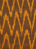 Brown Yellow Pochampally Hand Woven Ikat Fabric Per Meter - F002F942