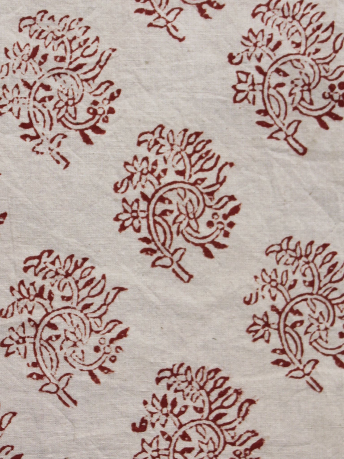 Ivory Maroon Hand Block Printed Cotton Fabric Per Meter - F003F1308
