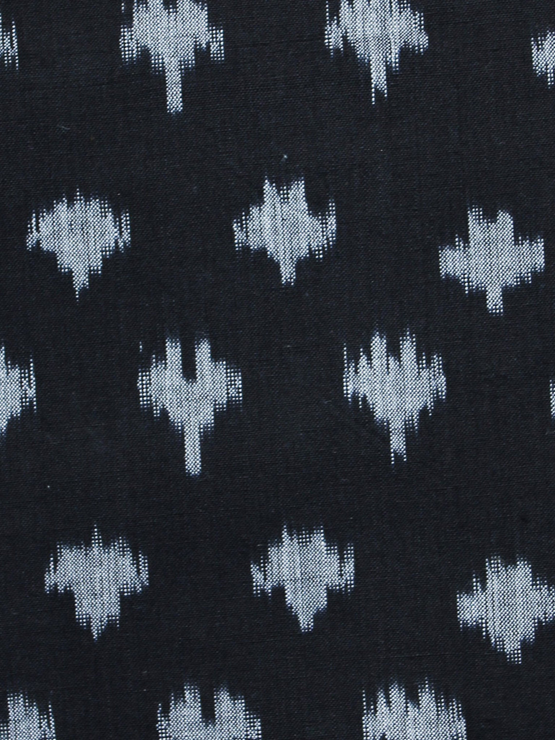 Black Grey Pochampally Hand Weaved Ikat Mercerised Fabric Per Meter - F003F1292