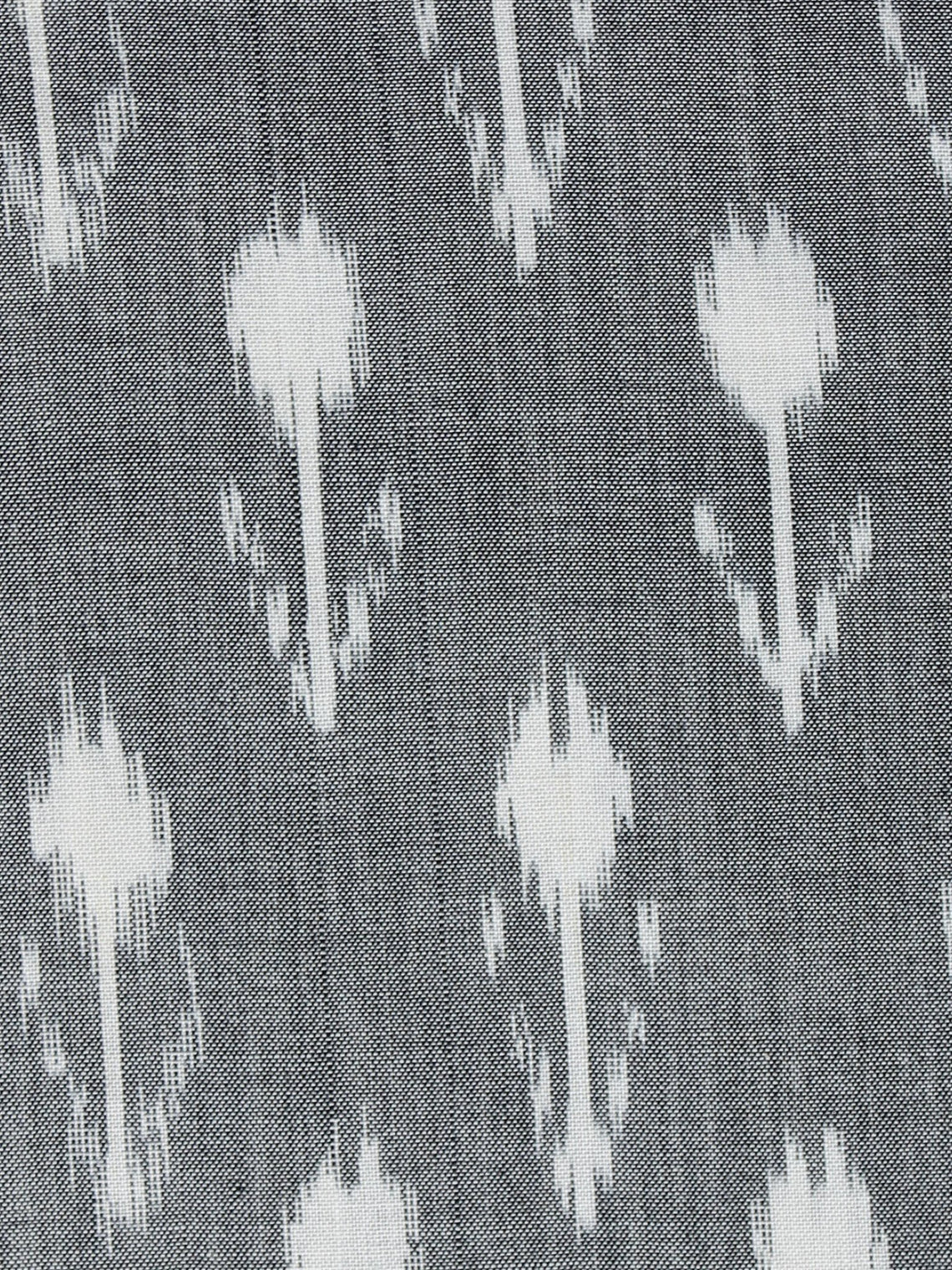 Steel Grey White Pochampally Hand Weaved Ikat Mercerised Fabric Per Meter - F003F1291