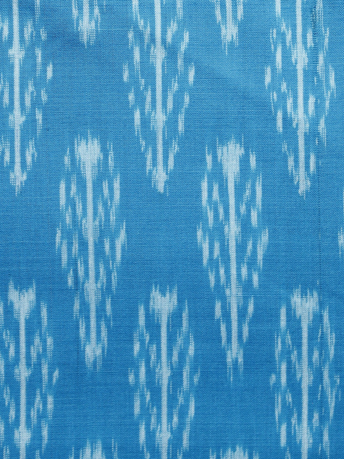 Sky Blue White Pochampally Hand Weaved Ikat Mercerised Fabric Per Meter - F003F1293