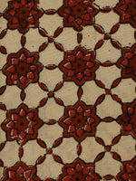 Red Beige Hand Block Printed Cotton Cambric Fabric Per Meter - F0916387
