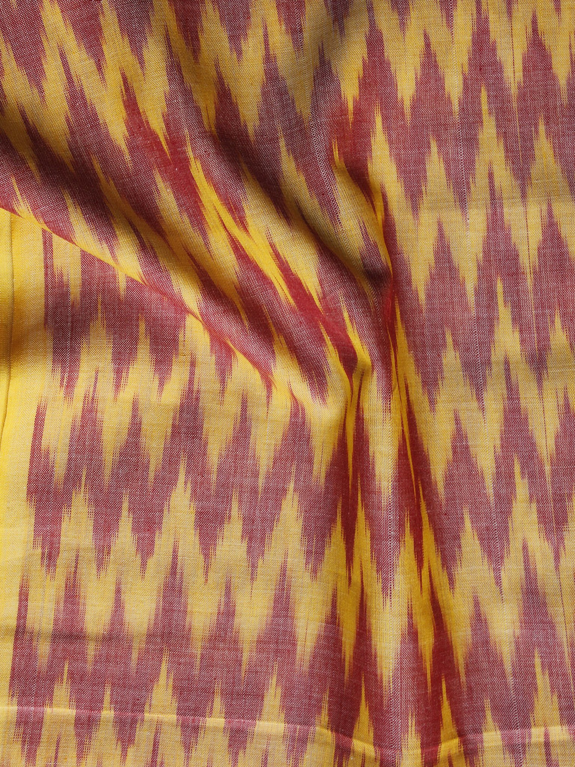Peach Yellow Pochampally Hand Weaved Ikat Mercerised Fabric Per Meter - F003F1295