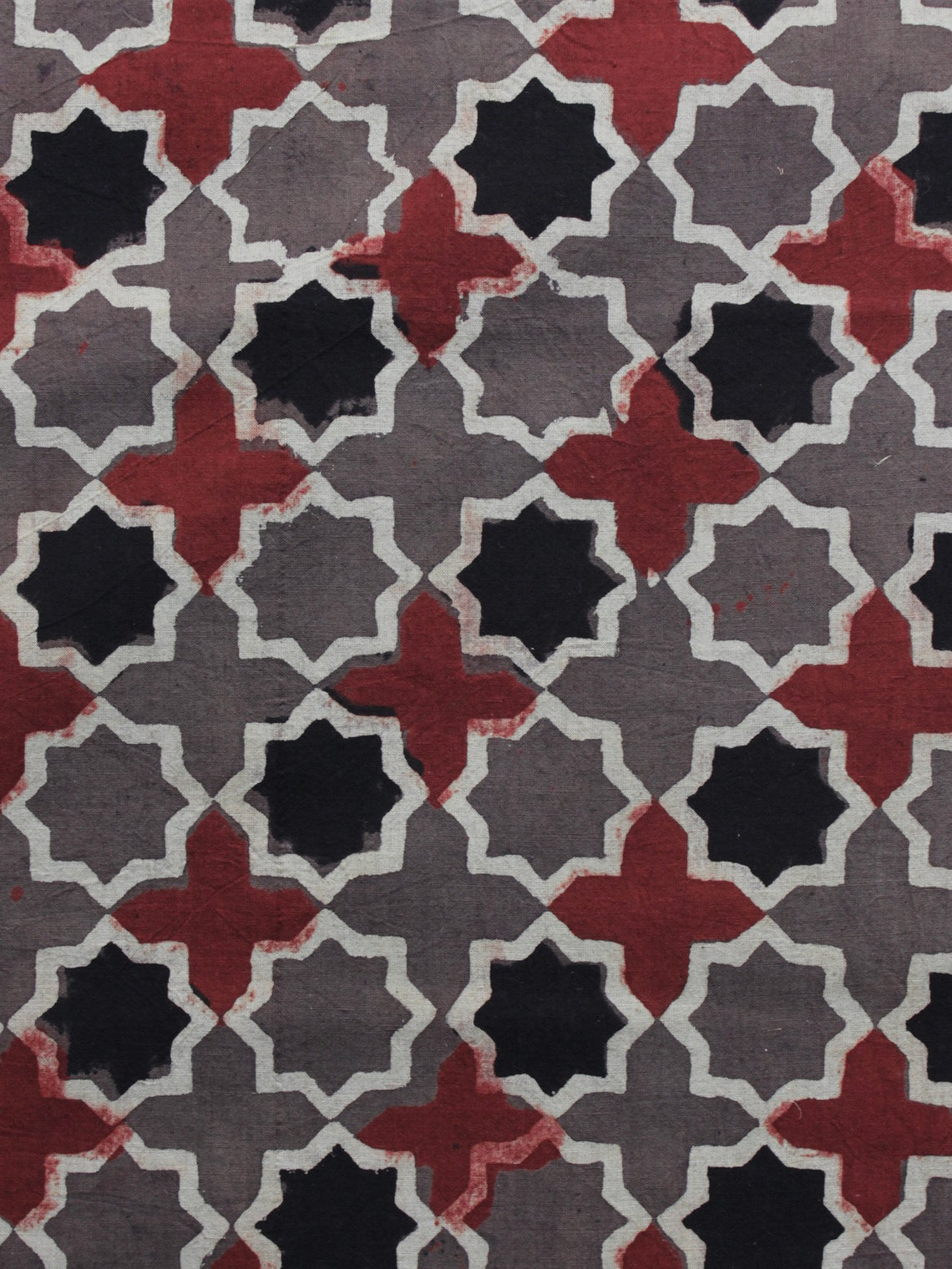Brown Red Black Ajrakh Printed Cotton Fabric Per Meter - F003F1165