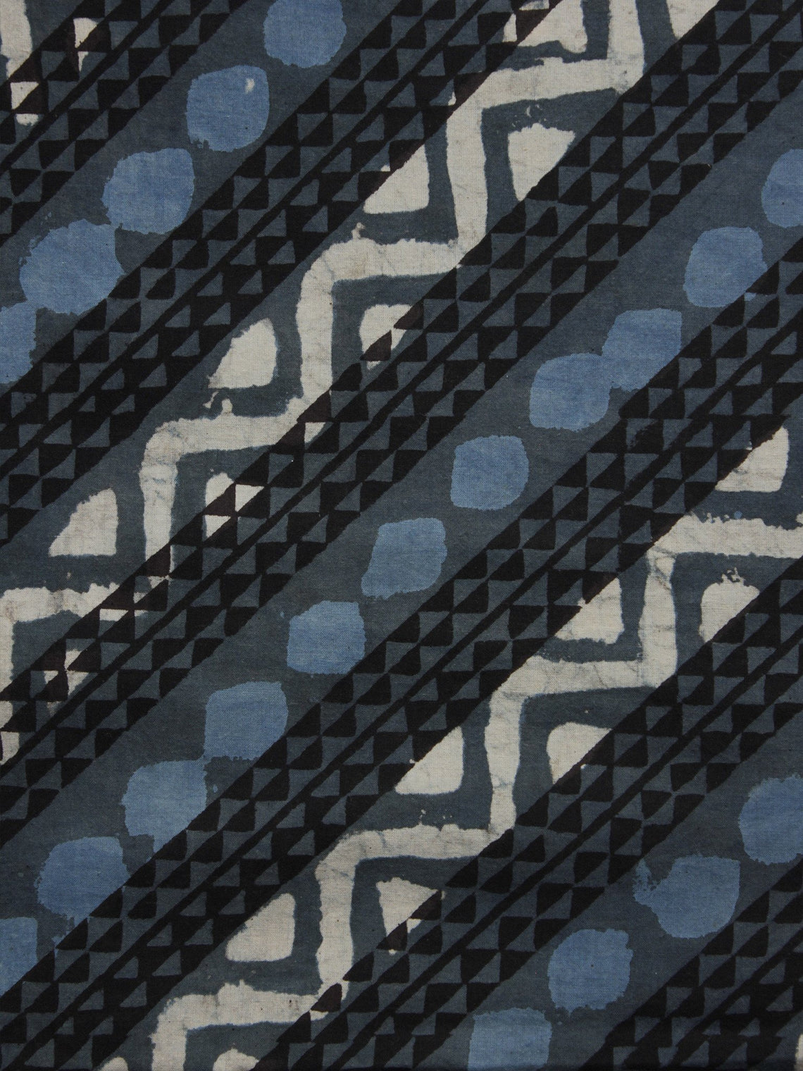 Grey Blue Black Ivory Hand Block Printed Cotton Fabric Per Meter - F001F901