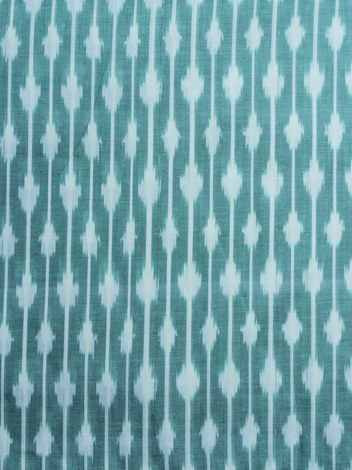 Teal Green Ivory Pochampally Hand Weaved Ikat Mercerised Cotton Fabric Per Meter - F002F1028