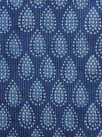 Indigo Ivory Kantha Embroidered Hand Block Printed Cotton Fabric - F004K1126