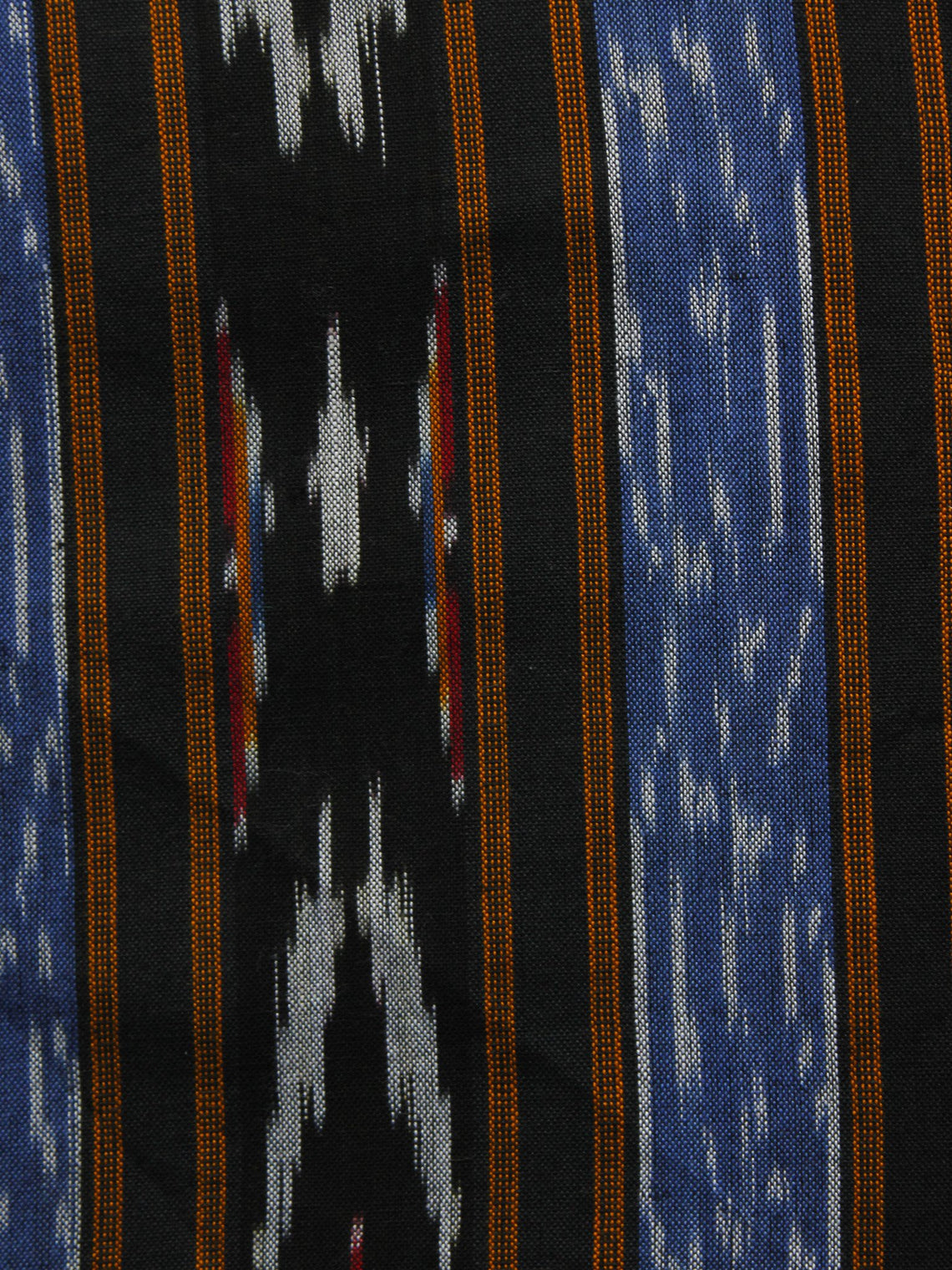 Blue Black Orange White Pochampally Hand Woven Ikat Fabric Per Meter - F002F929
