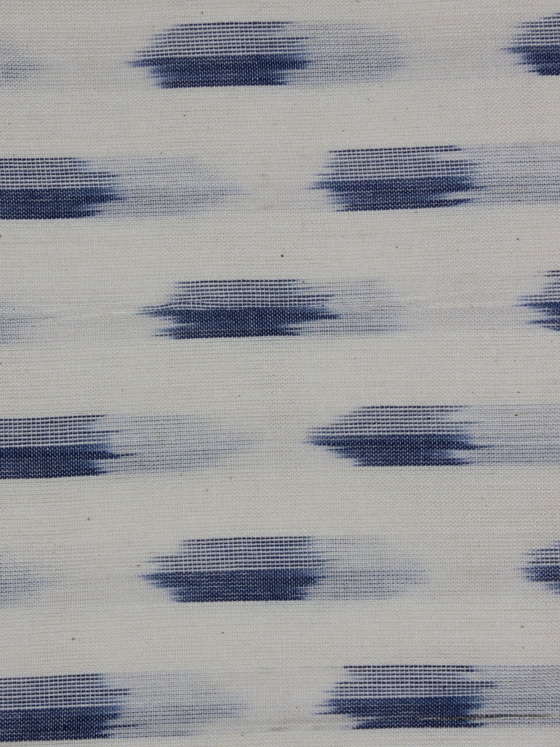 Ivory Blue Pochampally Hand Weaved Ikat Fabric Per Meter - F0916721