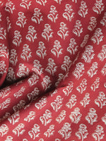 Tomato Red Ivory Hand Block Printed Cotton Fabric Per Meter - F001F1154